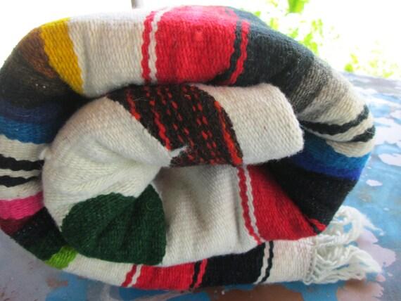 Primitive Mexican Aztec Serape Blanket Rug Vintage Eagle