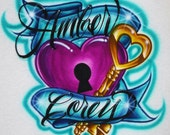 Airbrush T Shirt Couples Key To My Heart Two Names, Airbrush Couples Shirt, Boyfriend Shirt, Girlfriend Shirt, Valentines Day Gift Shirt