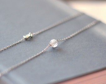 Crystal Necklace - CZ Necklace - Wedding Jewelry - Bridal Necklace - Sterling Silver - Minimalist Necklace - Bridesmaids Necklace Gift