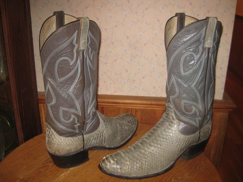 Dan Post Gray Snake Amp Leather Cowboy Boots Men 11 5 D
