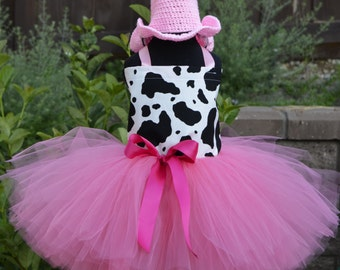 Pink Cowgirl Tulle Tutu Costume with Hand Crochet Cowgirl Hat for Girls, Toddlers, Birthday, Pageants, Costume