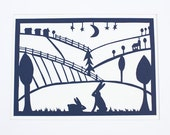 Rustic Country Scene Paper Cut, Landscape And Rabbits Paper Cut