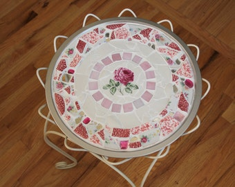 Jenny's Victorian Rose Mosaic Tray or Plant Stand Topper