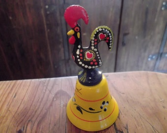 LUCKY COCK, handpainted  BELL, lucky rooster of Barcelos, Portugal, brass