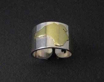 Greyhound slver cuff ring