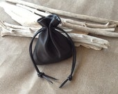 Leather Pouch Bag, Drawstring Pouch, Leather Sack, Cosmetic Bag, Clutch Bag, Money Pouch, Black Bag