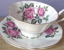 Antique Queen Anne bone china tea cup set, pink roses tea cup, English tea cup, pink and white tea cup, pink roses china cup, antique tea