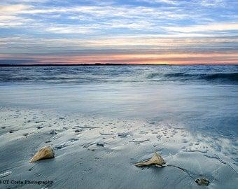 Beach Sunrise with Conch Shells, Ocean Coastline, Sunrise Photography, Blue and Orange wall art