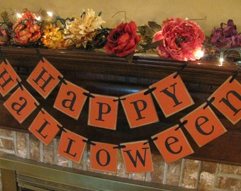 Happy Halloween Banner Orange Color Block Style Garland Sign Bunting (H10)