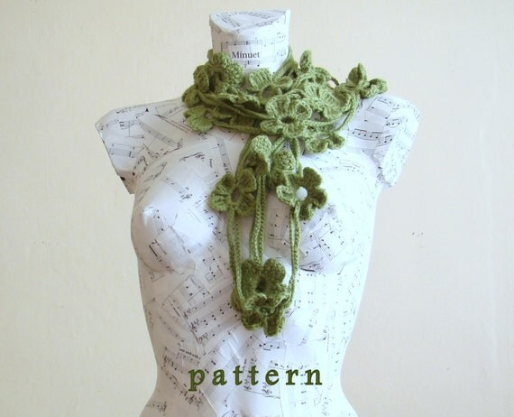 Crochet Flower Scarf Pattern crochet lariat scarf by PureCraft