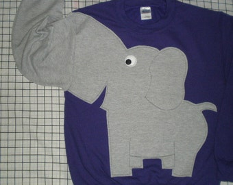Elephant sweatshirt with trunk sleeve, elephant shirt, purple sweatshirt, UNISEX adult sizes