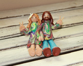 Customized Hippie Bride and Groom Wedding cake topper