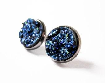 Halloween Night Earrings - Galaxy Druzy Earrings - Faux Druzy - Metallic Jewelry - Blue Druzy Jewelry - Post Earrings - Halloween Jewelry