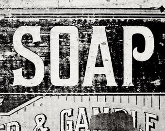 Vintage Soap Print or Canvas Art, Laundry Room Decor, Bathroom Decor, Rustic Bath Art, Country Bathroom Decor, Blue and Yellow.