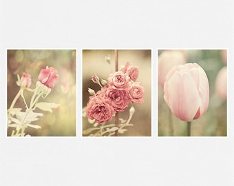 Pink Flowers Picture Set, Pink Print or Canvas Art Set, Pink Nursery Decor, Pink Bathroom Decor, Roses, Tulips, Soft Pink Home Decor.