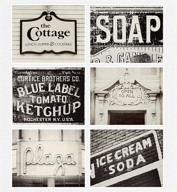 Vintage Sign Print Collection Kitchen Decor By