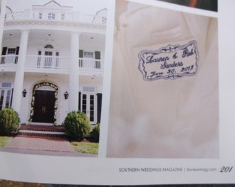 embroidered monogrammed wedding dress label w frame 2 as seen in Southern Weddings Magazine