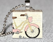 Scrabble Tile Pendant -Pink and Yellow Cruiser Bike- Polka Dots - i love my bike - Horizontal View Free Silver Plated Ball Chain (BIKE5)