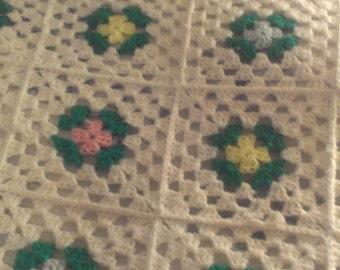 Vintage Crochet Granny Square Afghan, Victorian, Retro, Bedding, Cottage Chic, Country, Traditional, Bohemian, Fancy, Antique, Unique, OOAK