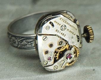 Women's Steampunk Ring Jewelry - Torch SOLDERED - ETERNA Watch Movement w/ Original Crown & Floral Band - Adjustable - Fine Design