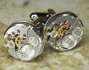 Steampunk Cufflinks Cuff Links - TORCH SOLDERED - Vintage RUSSIAN Watch Movements w/ Thin Pin Striping - Birthday, Wedding, Gift - Nice