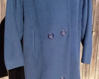 Vintage Blue Winter Travere Woven by Worumbo Coat