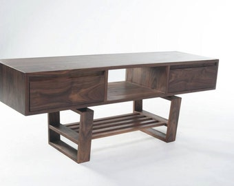 Mid century modern styled TV stand with drawers in Walnut