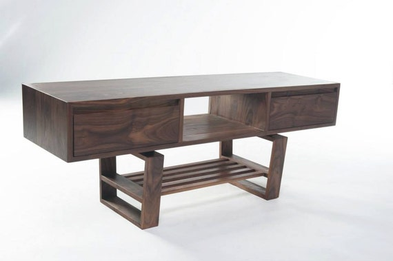mid century modern styled tv stand with drawers in walnut. Black Bedroom Furniture Sets. Home Design Ideas