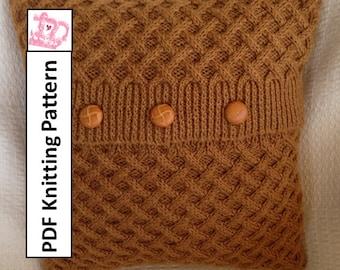 PDF KNITTING PATTERN, knit pillow cover pattern, cable knit pillow cover pattern, cable knit cushion pattern