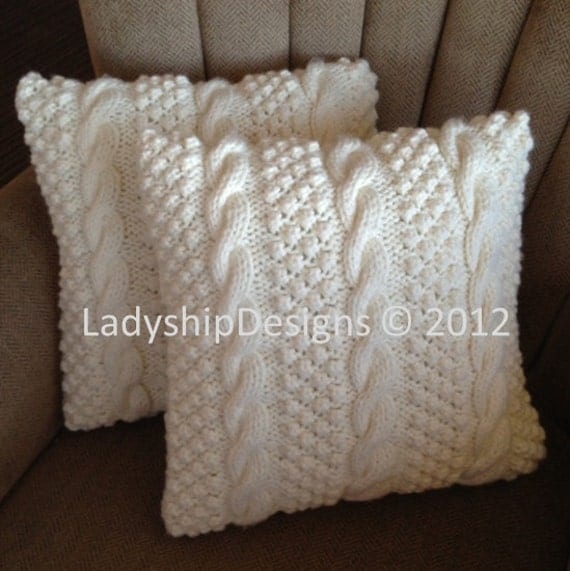 Cable Knit Pillow Pattern : Knit pattern pdf, Cable knit pillow cover pattern, Blackberry Cables 16x16 ...