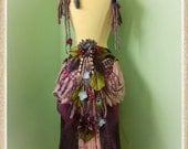 Bustle Belt Size M-L// Purple, Yarn, Flower, Feather, Costume, Dress, Goddess, Wedding, Fairy