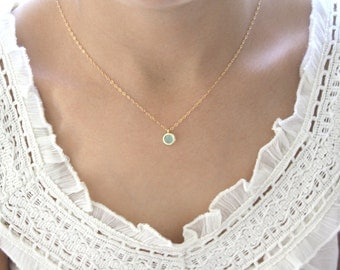 Gold Necklace, Mint Necklace, Bridesmaid Necklace, Mint Wedding, Christmas Gift, Best Friend Gift, Girlfriend Gifts, Gifts for Her, Teens