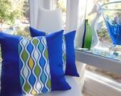 Blue Pillow - Royal Blue Yellow Designer Pillow - Marine Sun Baja Ogee Pillow - 18 x 18 Inch Reversible Pillow - Royal Blue Pillow