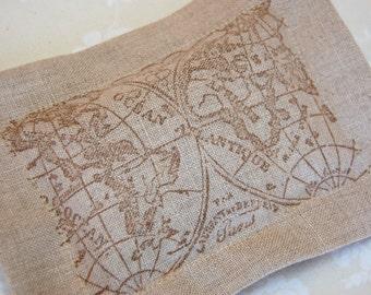 Lavender Sachet, Antique/ Old World Map on Linen (Gifts under 10 dollars) -Fresh Dried Lavender