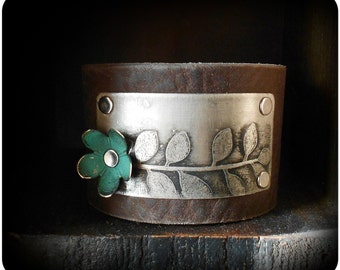 Mixed Metal Etched Leaf Leather Cuff Bracelet