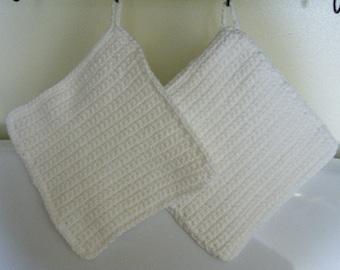 100% Cotton Crochet Crocheted Hotpad Pot Holder Set - White