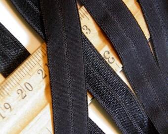 6 Yards Elastic Fold Over Elastic - 1/2 Inch  - Black- Yardage