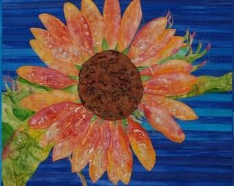 Sunflower Fiber Art, Wall Hanging, Batik, Handmade, Mixed Media, Wall Art, Contemporary, Modern Art Quilt, Original Art, Wall Decor Fiber