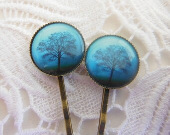 Blue Tree Hair Clips Bobby Pins