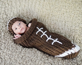 Knitted football cocoon - newborn
