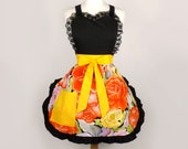 Embroidered Day of the Dead Yellow and Orange Apron