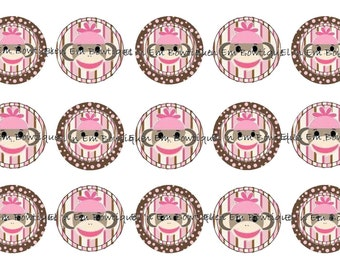 Pink sock monkey 1 inch bottle cap image sheet