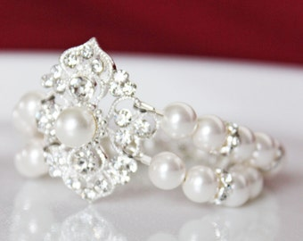 Rhinestone Crystal Wedding Bracelet, Swarovski Crystal White Pearl Bridal Bracelet, Bridesmaids Bracelet, Pearl Bracelet
