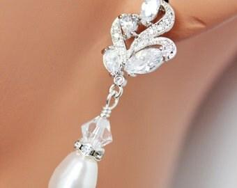 Crystal Pearl Bridal Earrings, Pearl Drop Wedding Earrings, Crystal Drop Bridesmaids Earrings, Bridal Accessories, Mother of the Bride Groom