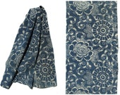Antique Indigo. Hand Loomed Japanese Katazome Cotton. Aizome. Floral Stencil Design. Blue Scarf Supply Material (Ref: 555)