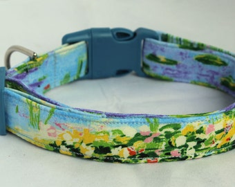 Monet Water Lilies Art Lovers Dog Collar Size XS, S, M or L