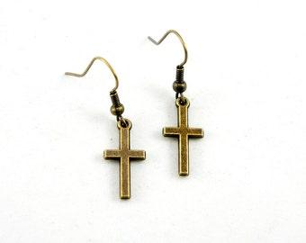 Cross Earrings - Antiqued Brass Vintage Style Cross Dangle Earrings - Bridesmaids Gifts Idea - CP080