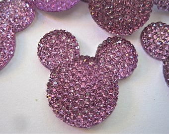 Purple Glitter Mouse Ears Cabochons Embellishment Buttons Lot of 2