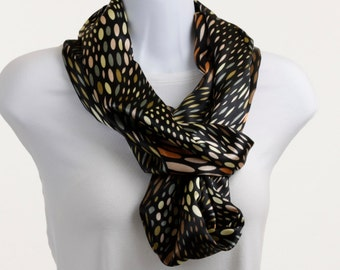 Silky Infinity Scarf - Rich Shades of Greens and Browns on Black ~ SK137-L5