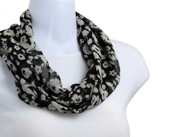 Short Infinity Scarf - Playful sheer Floral Black and Gray ~ SH211-S5